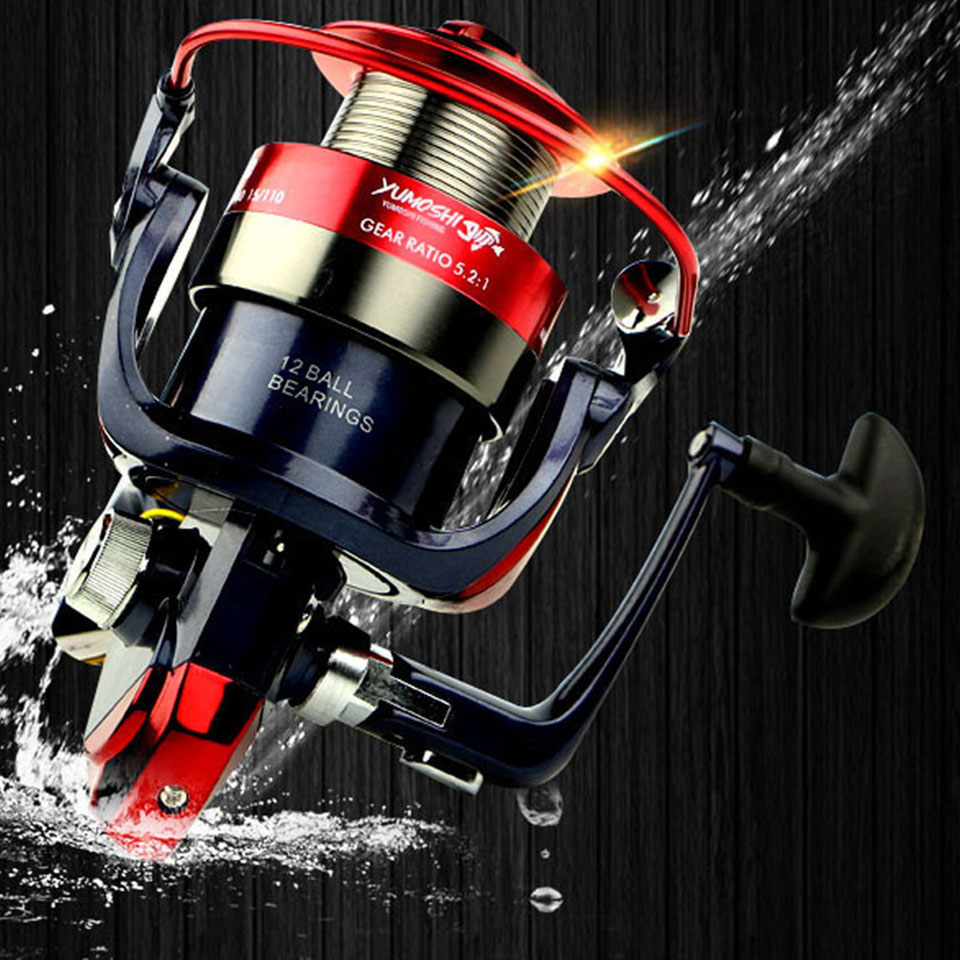 12BB 5.5:1 Metal Spinning Fishing Reel Carp Fishing Wheel Pesca Red Spinning Reel Fishing Tackle