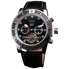 NEW Delicate Multifunction Men s Automatic Mechanical Wristwatch 6 Hand 3 Sub dial Tourbillon Calender Leather