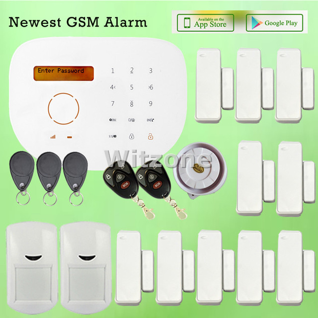 Low Cost Wireless GSM SMS RFID Smart Home Alarm System APP Remote Control  With LCD Display