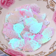 Free shipping 300pcs/lot  13*22mm Leaf with 2 holes sequins White colors Jewelry Accessories cloth crafts confetti clothing
