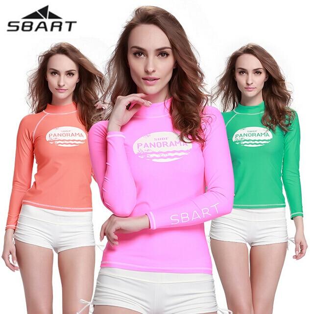 SBART Novo UPF50 + Lycra de Manga Comprida Camisas Das Mulheres Praia Swimwear Maiô Wetsuit Secagem rápida Banho Fatos de Surf