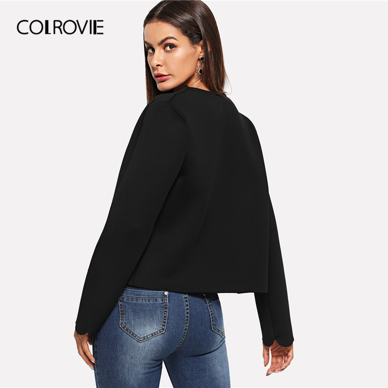 Image 2 - COLROVIE Black Solid Scallop Trim Bolero Casual Women Blazer Feminino 2019 Spring Office Ladies Coats Elegant Outerwear Coat-in Blazers from Women's Clothing