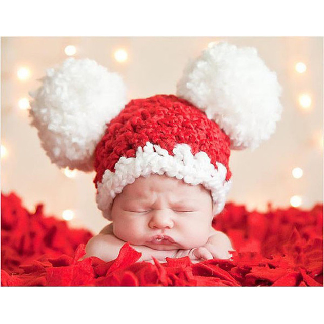 Christmas Baby Santa Hat Toddler Girl Pom-Pom Beanie Hat Crochet Knit Baby  Hat Newborn Photography Props 1pc H158 7380508cd79