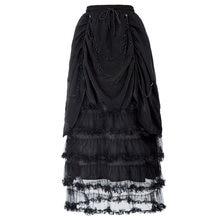 0895517df1 Faldas vintage negras para mujer estilo gótico victoriano cadena negra  decorada cintura elástica con volantes faldas largas lisa.