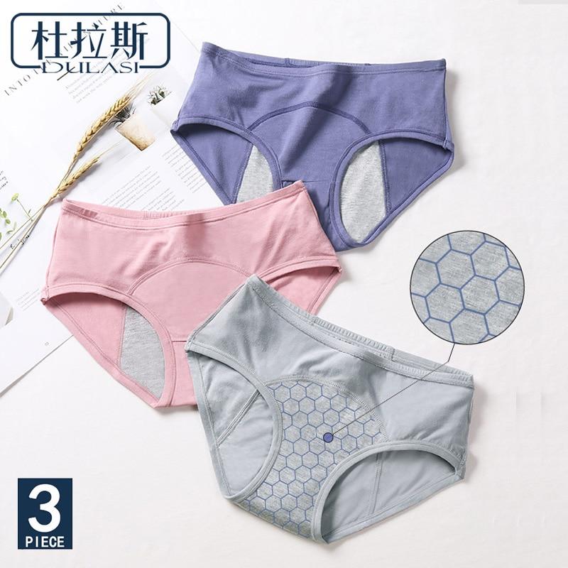 3pcs/Set Antibacterial Menstrual   Panties   Leakproof Moon Pants Cotton Women Underwear Breathable Female Brief DULASI