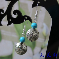 Manufacturers Selling Yunnan Folk Style Retro Jewelry Silver Earrings Earrings Accessories Bohemia Wind Fish R087