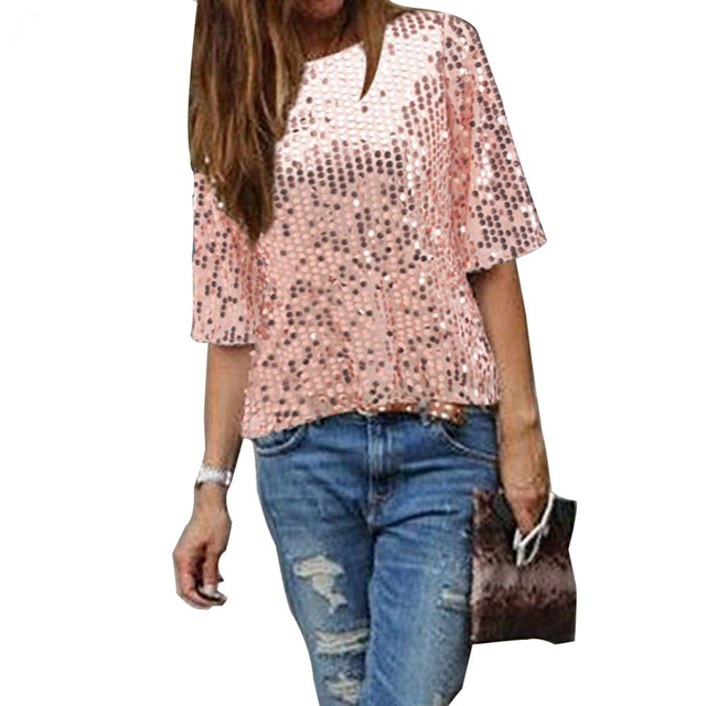 c19d066db02b7a 2017 RUIYIGE Hot Sequin Ladies Sparkle Glitter Shirts Tops Korea Women  O-neck Half Sleeve Sexy Casual Loose Blouses free ship