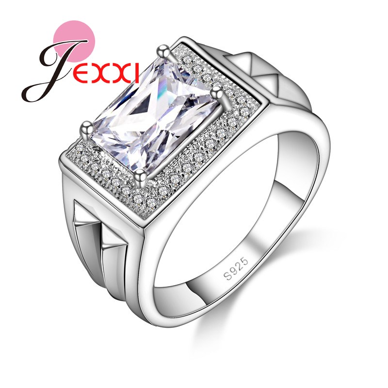 JEXXI Wholesale Geometric Crystal Wedding Rings Woman Fashion 925 Sterling Silver Luxury Jewelry Engagement Zircon Accessory