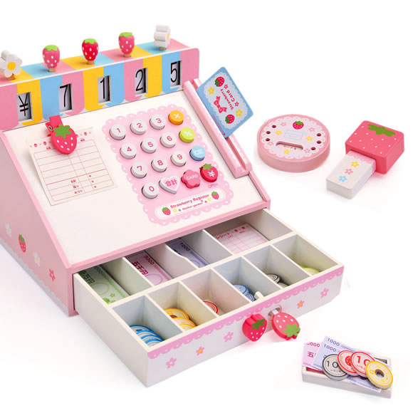 Baby Toys Mother Garden Strawberry Simulation Cash Register Child Pretend Play Furniture Wooden Toys Gift