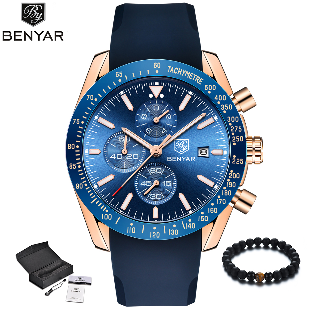 BENYAR New Fashion Blue Men Watches Luxury Brand Quartz Gold Watch Silicone Band Military Sport Watch Men Wristwatch 2018 Clock super speed v0169 fashionable silicone band men s quartz analog wrist watch blue 1 x lr626