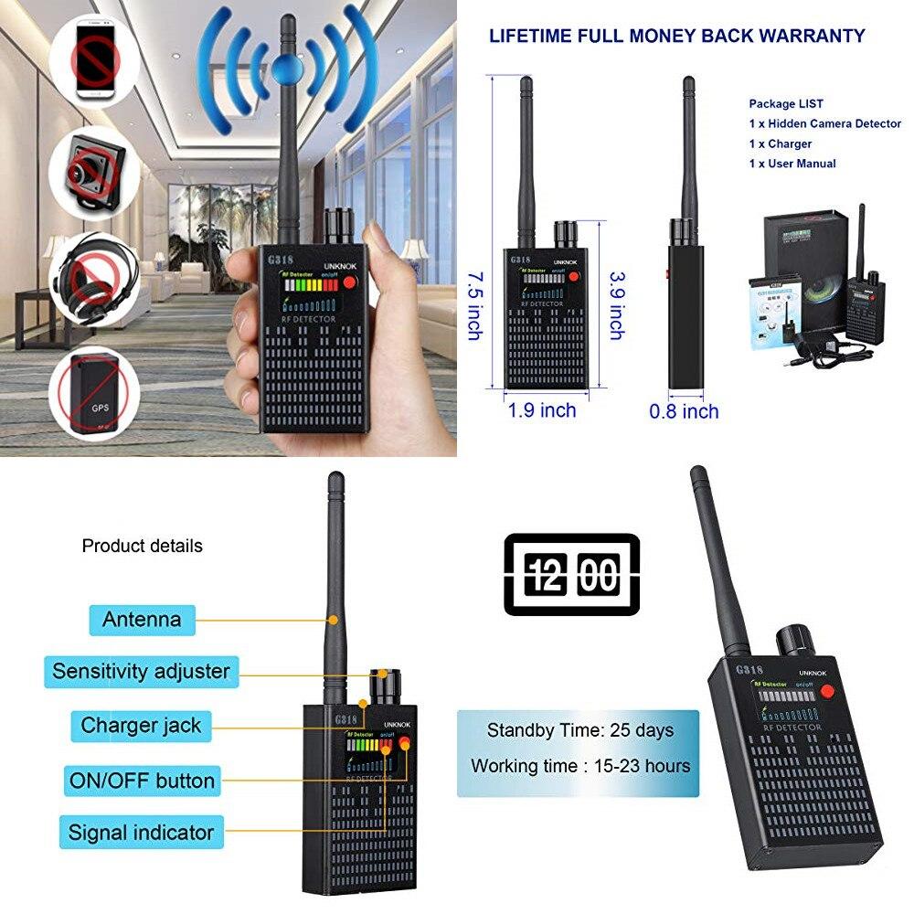 G318 1 MHz-8000 MHz wykrywanie radia anty szpieg sygnał kamery GSM Audio Bug Finder 4G sygnały GPS obiektyw RF Tracker detektory