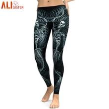 Alisister cráneo Leggings de las mujeres 3d Hip Hop Halloween Legging Digital Print Pantalones Stretch Fitness entrenamiento