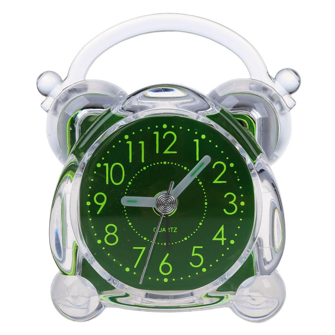 Small Crystal Plastic Desk Bell Alarm Clock with Light