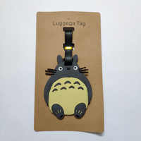 Gifts Japanese Anime Totoro Travel Accessories Silica Gel PVC Luggage Tags Cute Cartoon Portable Baggage Boarding Tag Name Label