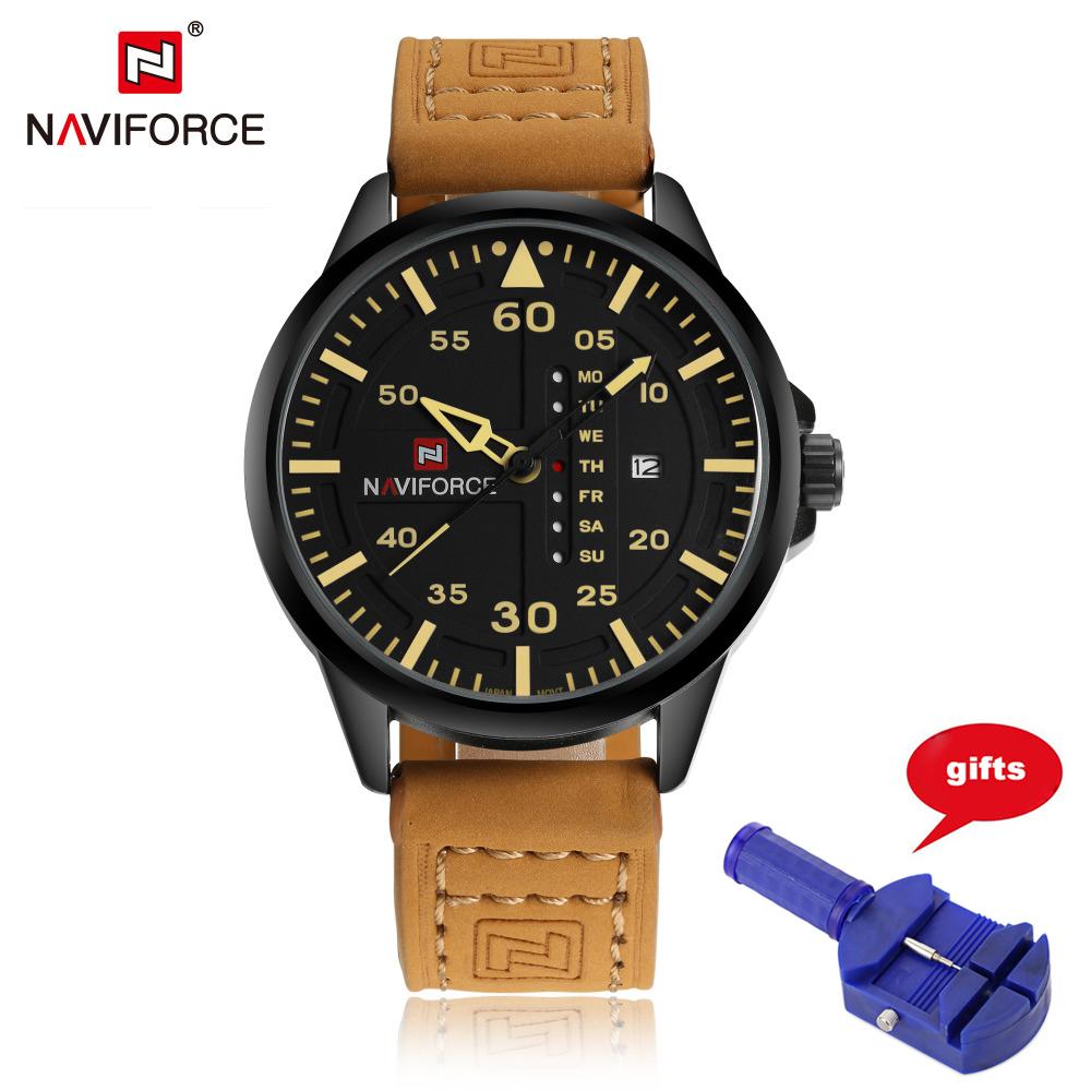 Prix pour Top Marque De Luxe NAVIFORCE Hommes Montre Mode Sport Montres Hommes Quartz Date Horloge Mâle Bracelet En Cuir Militaire Relogio Masculino
