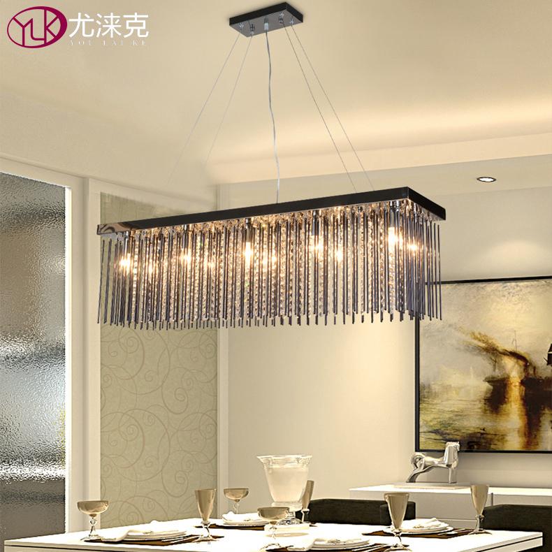 Rechteck Schwarz Kristall Kronleuchter Fr Esszimmer Luxus Lampen Bar Kaffee Hngen Leuchte LED Cristal Lustre