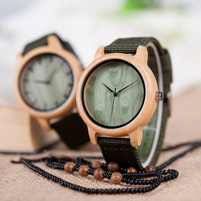 BOBO BIRD D11 bambou bois montres pour femmes hommes marque Design vert Nylon sangles montre livraison directe dans la boîte 1