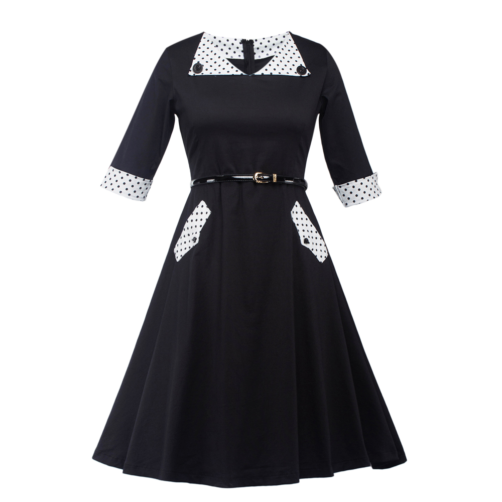 Black dress with white peter pan collar - Peter Pan Collar Vintage Polka Dot Black Dress Summer Hepburn Style Swing Dress Women Half Sleeve
