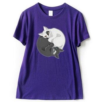 T shirt Tai Chi Cat Women Cartoon Summer Casual 100 Cotton Short Sleeve T shirt