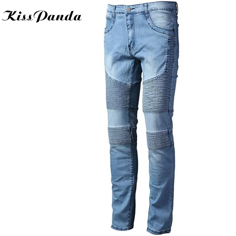 цена KissPanda Men's Pleated Biker Jeans Pants Slim Fit Brand Designer Motocycle Denim Trousers For Male Straight Washed Multi Zipper