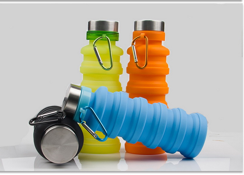 DHL 20pcs 550ML Portable Silicone Folding Water Bottle Retractable Outdoor Climbing Travel Collapsible Sports Kettle