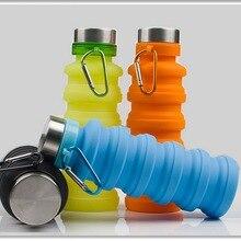 DHL 20 шт 550 мл портативная силиконовая складная бутылка для воды Выдвижная наружная скалолазание Путешествия складной спортивный чайник