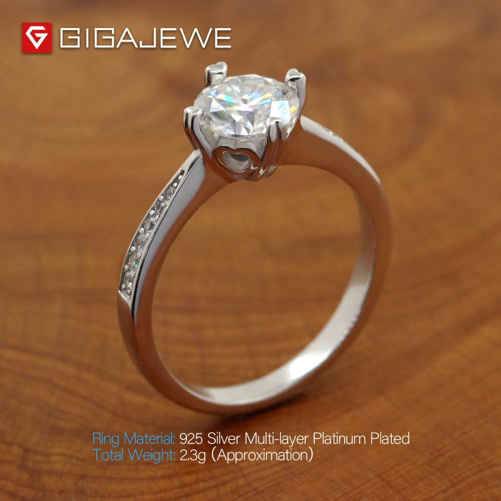 Image 4 - GIGAJEWE Moissanite Ring 1.0ct VVS1 Round Cut F Color Lab Diamond 925 Silver Jewelry Love Token Woman Girlfriend Courtship Gift-in Rings from Jewelry & Accessories