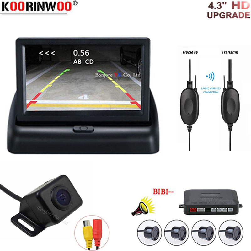 Koorinwoo HD Car Auto Parktronic 4 Sensors Reverse Camera adar System Backlight Backup Car Detector 4