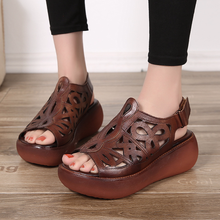 Thick-soled Retro Sandals Womens Hollow New Leather Mother Soft and Comfortable Shoes