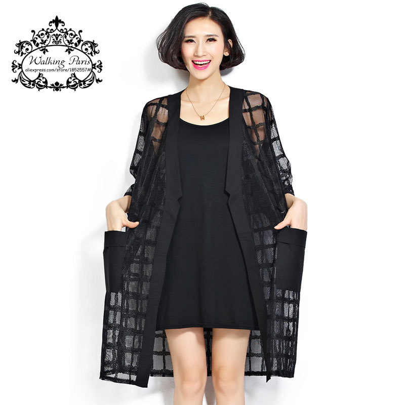 Plus Size Summer Style Fashion Women's Clothing Long Cardigan Arrival Black Plaid Print Loose Half Sleeve Lady Chiffon Coat