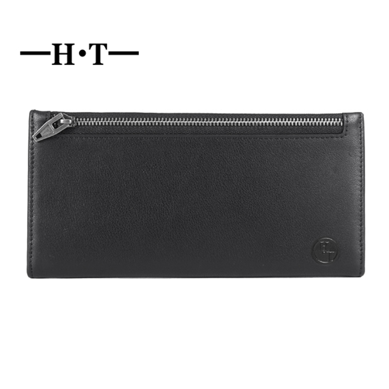 HT Purse Men Genuine Leather Wallet Long Clutch Male Leather Purse Mens Clutch Wallet Purse Man Wallet Money Clip Long Purse fasiqi crocodile leather wallet soft skin fashion man wallet long wallet multi card money clip hand bag male business leather