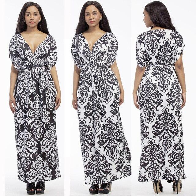 33d7125dfda iRicheraf Print Floral Loose Boho Bohemian Dress Summer Long Beach Milk  Silk Maxi Dresses V Neck Sexy Women Party Vestidos 3XL-in Dresses from  Women s ...