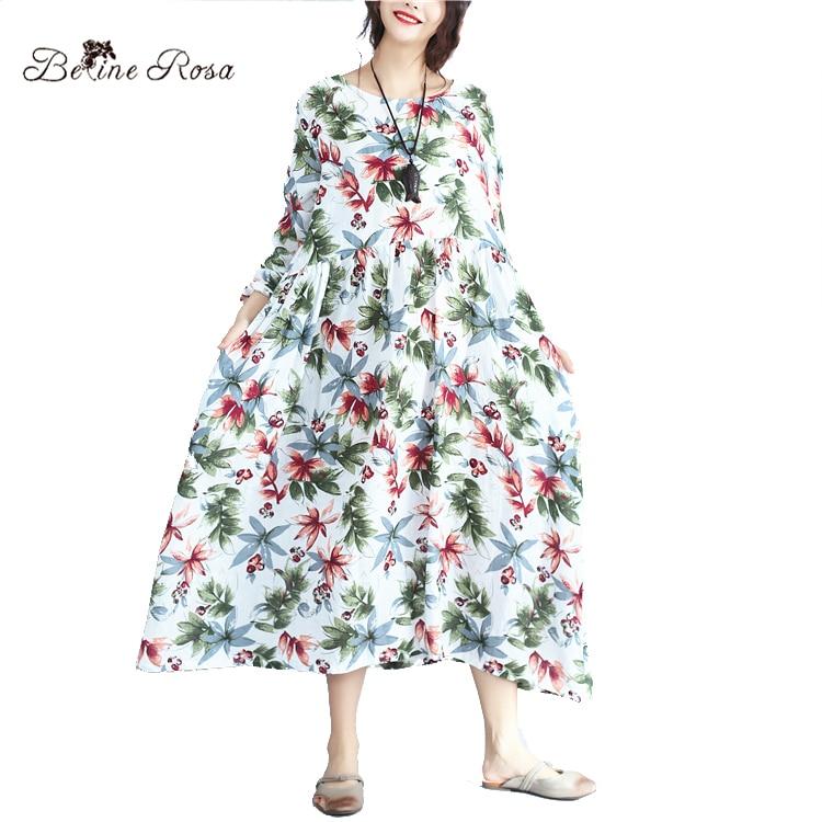 Detail Feedback Questions about BelineRosa 2017 Women s Plus Sizes Dresses  Casual Floral Printed Loose Long Sleeve Cotton Linen Autumn Women Dresses  ... ed89b8ac1c24