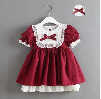 Jeden kawałek detaliczna 2019 dziewczyna koronki hiszpania sukienki księżniczka sukienka z kokardą Lolita Party z opaskami hiszpański ubranka dla dzieci