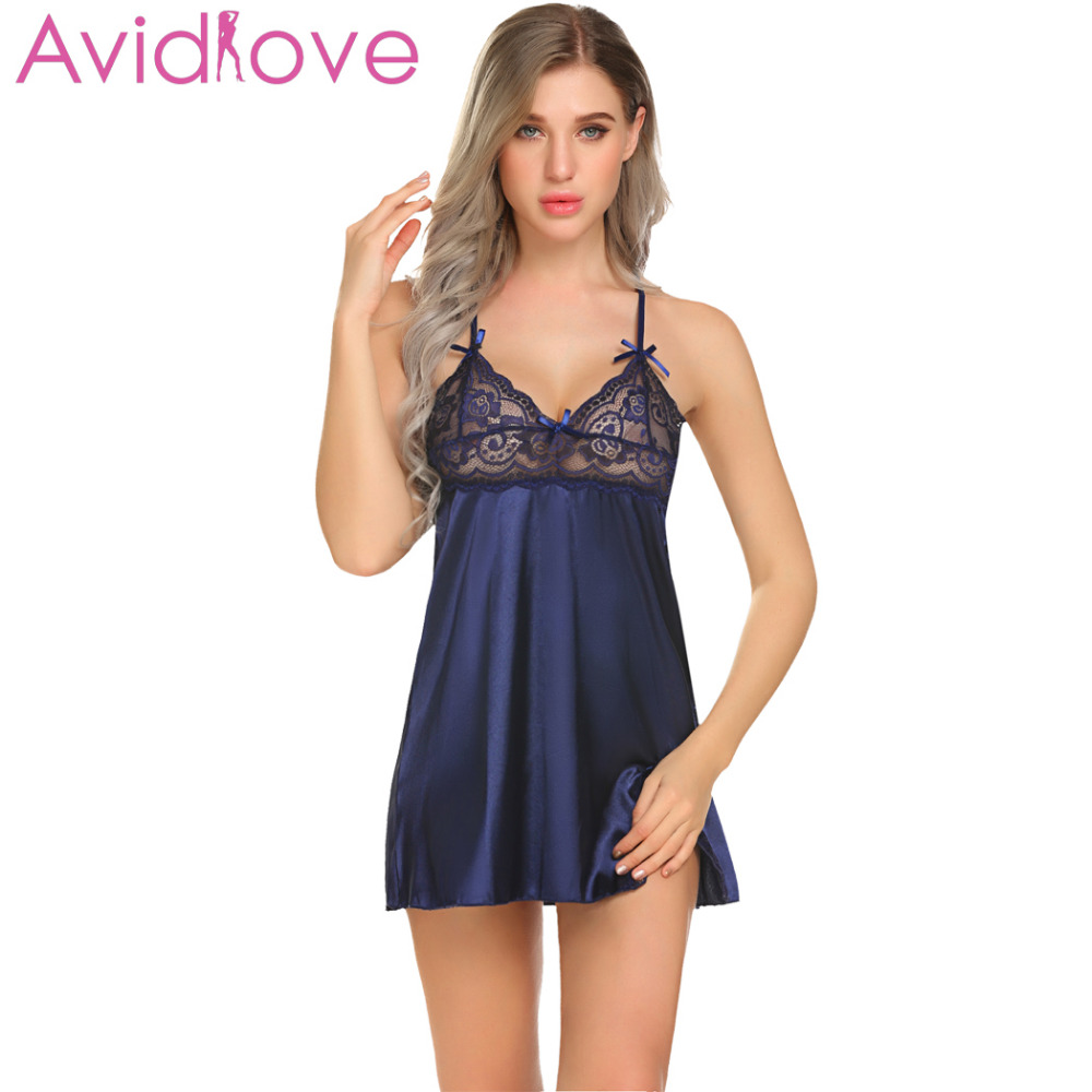 Avidlove Women Night Dress Sleepwear Sexy Satin Chemise Slip Babydoll Sheer Lace Patchwork Nightwear with G-String