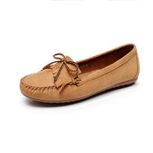 CESTFINI Women Leather Flats Ladies Light Comfrtable Suede Rubber Leather Shoes For Drive Walking Shopping #F050(China)