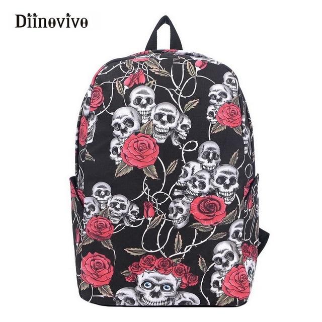 Diinovivo New Fashion Gothic Backpack Printed Skull Flowers Women Travel Bag Punk Designer School Bags Boys