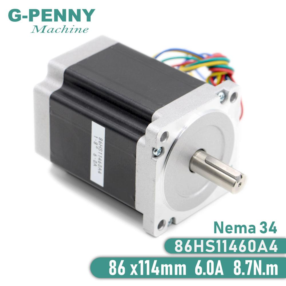 NEMA 34 Stepper Motor 86X114mm 8.7 N.m 6A 14mm Shaft Stepping Motor 1172Oz-in For CNC Laser Engraving Milling Machine