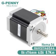 Шаговый двигатель NEMA 34, 86x8,7 мм, нм, 6 А, 14 мм, вал, шаговый двигатель 1172Oz in для лазерного гравировального фрезерного станка с ЧПУ
