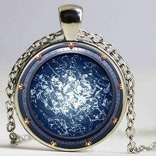 1pcs/lot Stargate Portal Atlantis Logo Pendant Necklace Bronze and sliver Vintage Chain Choker Statement Necklace Art Necklace