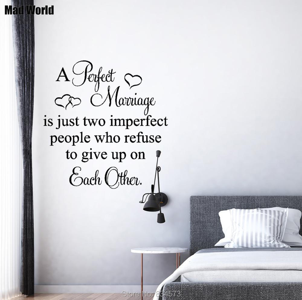 Large Wall Art Sticker Quote A Perfect Marriage Imperfect People Transfer Decal