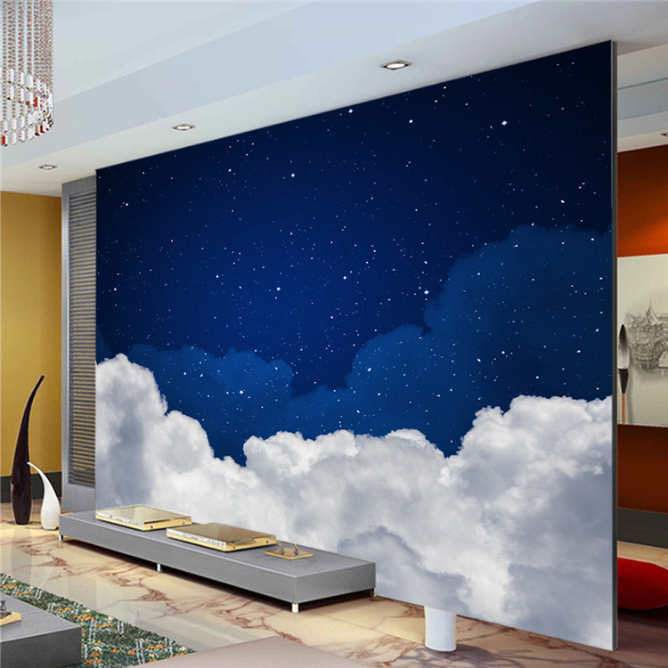 Night sky photo wallpaper galaxy wallpaper custom 3d - How to paint murals on bedroom walls ...