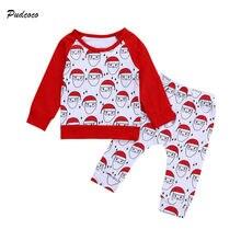 7325d60b12 Navidad bebé recién nacido Niña de Papá Noel ropa manga larga Tops +  Pantalones largos pantalones 2 piezas ropa de Navidad conju.