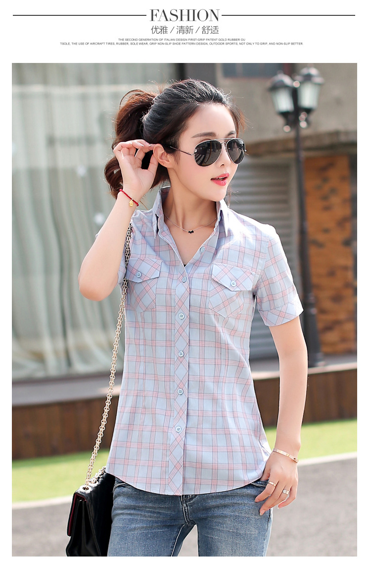 HTB1cS EHFXXXXaDXVXXq6xXFXXXX - New 2017 Summer Style Plaid Print Short Sleeve Shirts Women