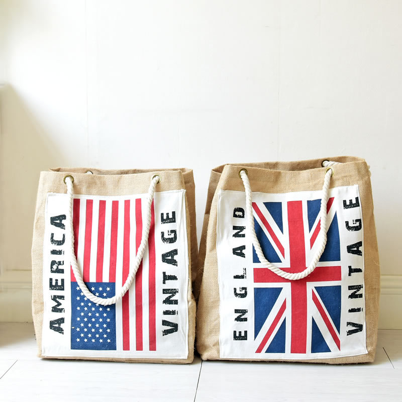 38*28*48cm Retro England American Flag Large Grocery Basket Laundry Storage Bag Waterproof Clothes Storage Baskets Kids Toys Box