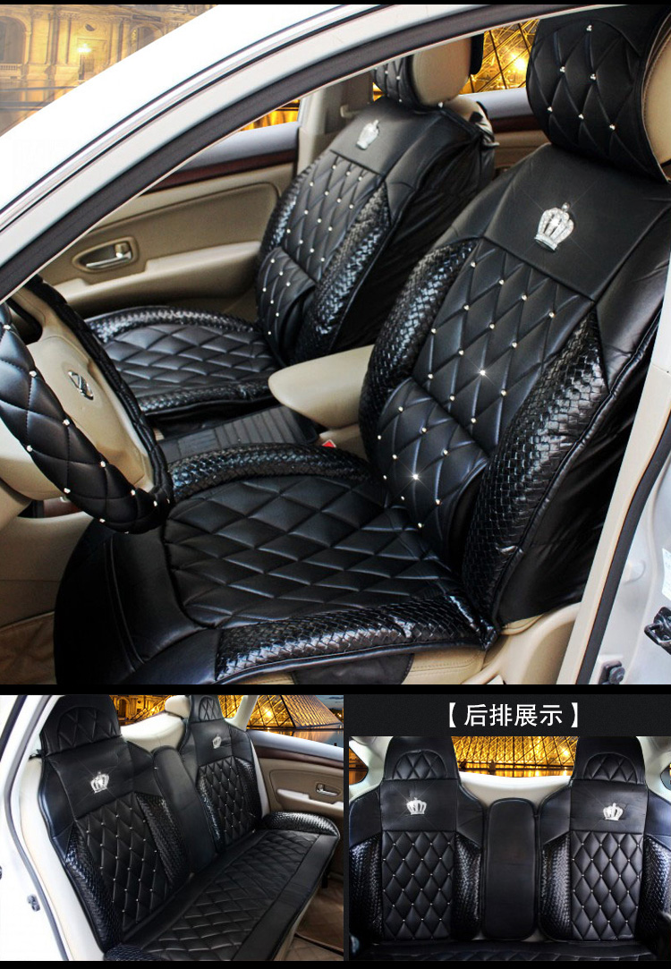 Queens Luxury Car Seat Cover Full Surround Rivet Universal PU Leather Covers Styling In Automobiles From Motorcycles On