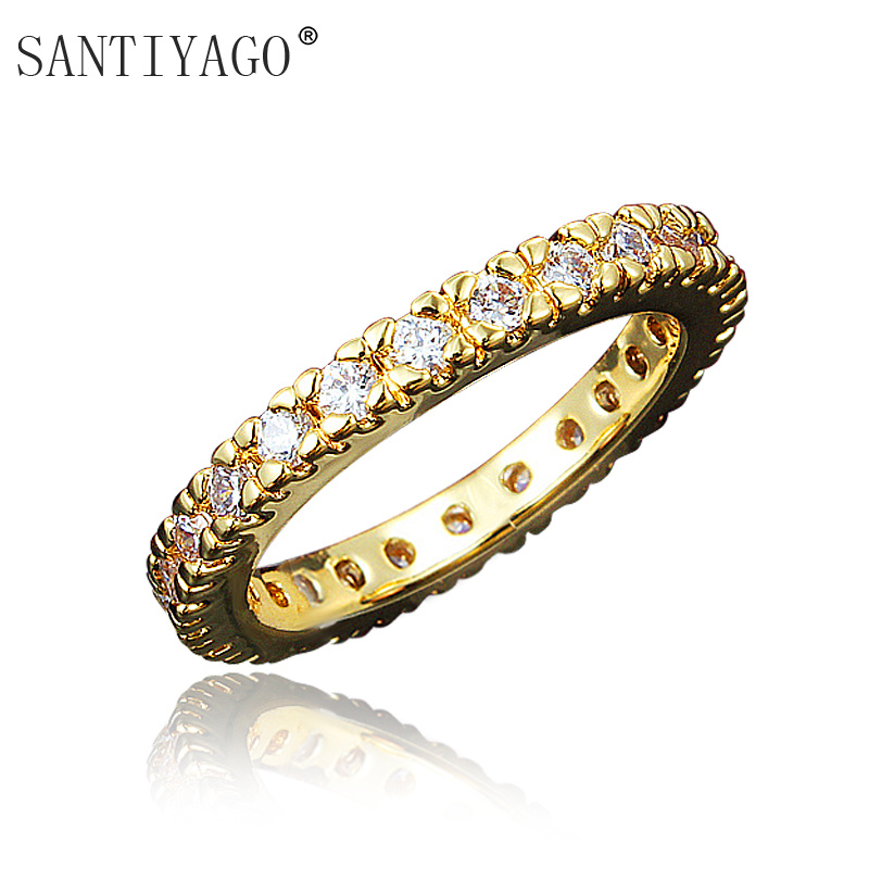 SANTIYAGO Crystal Jewelry Gold Color Stainless Steel Wedding Rings Ladies Luxury Fashion Jewelry Engagement Ring Women