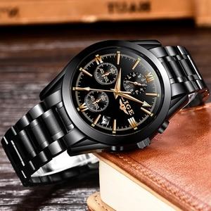 Image 2 - LIGE Mens Watches Top Brand Luxury Fashion Business Quartz Watch Men Sports Full Steel Waterproof Black Clock Relogio Masculino