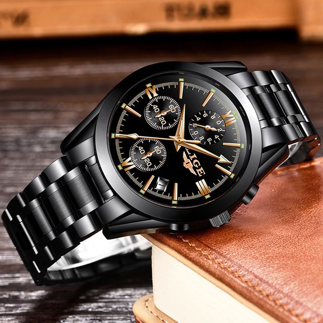 LIGE Mens Watches Top Brand Luxury Fashion Business Quartz Watch Men Sports Full Steel Waterproof Black Clock Relogio Masculino