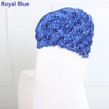 Royal blue colour embroider rosette satin chair sash wedding decoration chair covers hood lycra band fit all chairs wholesale